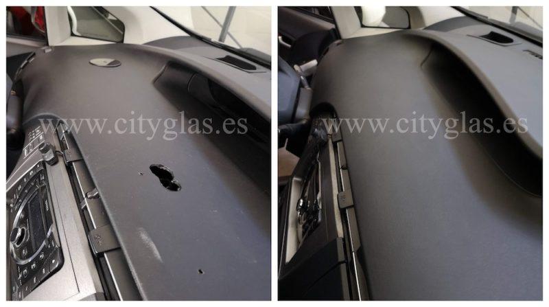 reparar agujeros en salpicadero de coche taxi