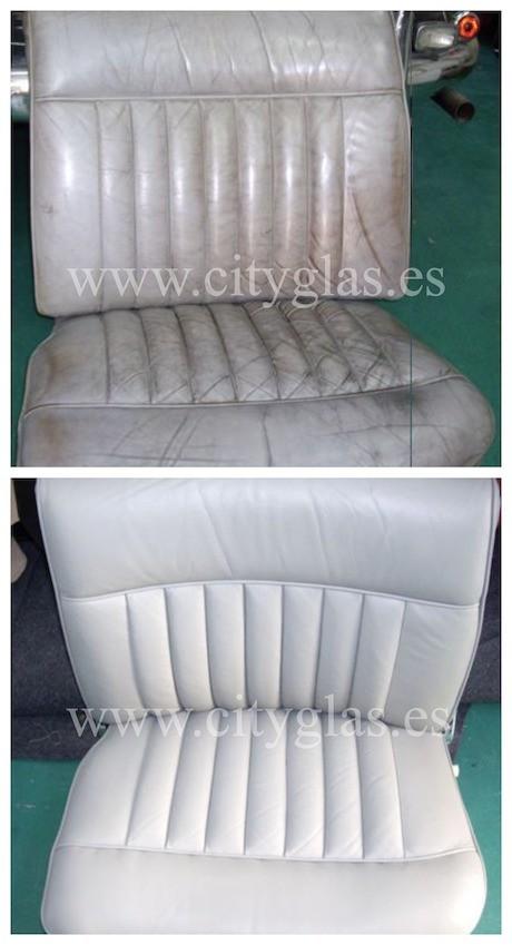 teñido y reparación de asientos de cuero en coche clásico