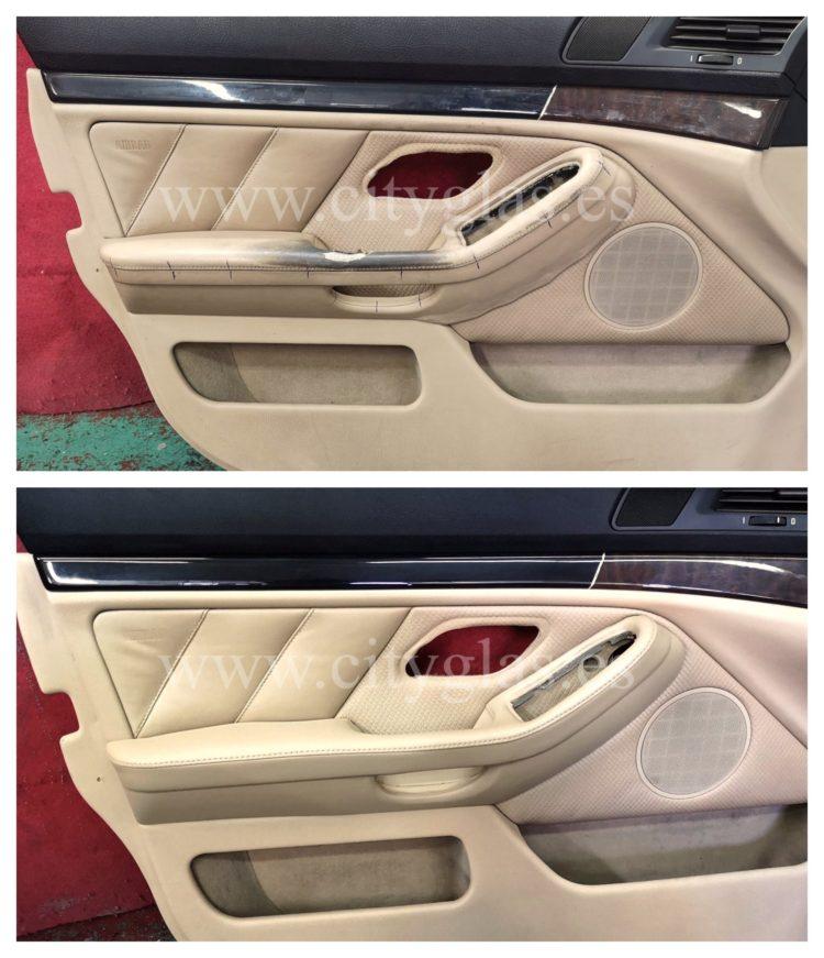 restaurar panel de puerta cuero coche