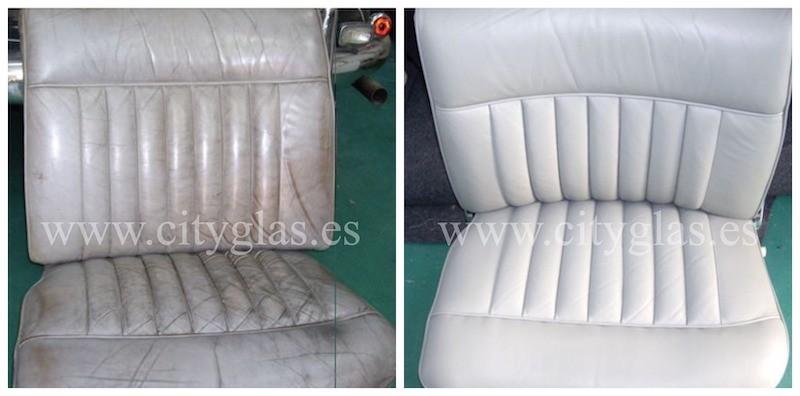 recuperación y teñido de asientos de cuero en coche clásico