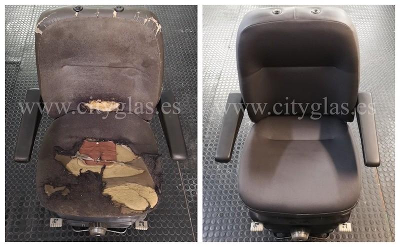 reparación de tapicería de asientos vehículo industrial