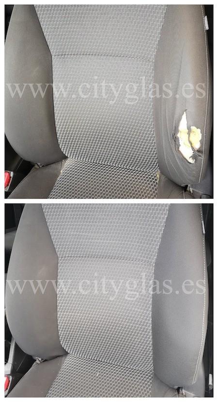 cambio de oreja de asiento de tela coche